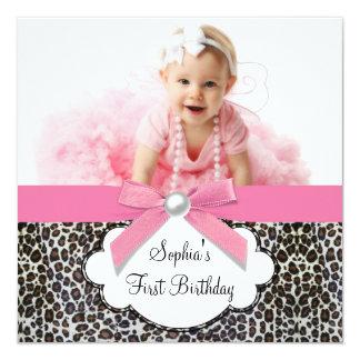 1ra fiesta de cumpleaños del leopardo de la foto anuncio personalizado