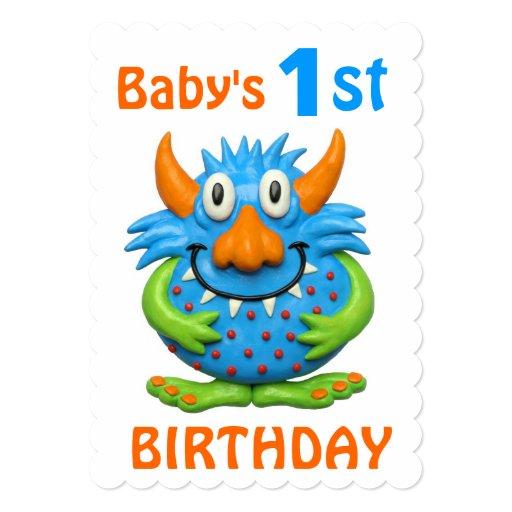 """1ra fiesta de cumpleaños del monstruo del bebé invitación 5"""" x 7"""""""