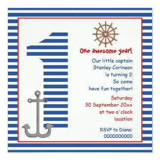 1ra fiesta de cumpleaños náutica del velero azul, invitación 13,3 cm x 13,3cm