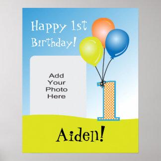1ra foto del cumpleaños del niño coloreado de los posters