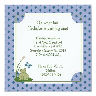1ra invitación del cumpleaños de la rana soleada invitación 13,3 cm x 13,3cm