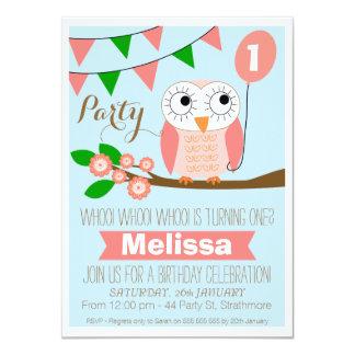 1ra invitación del cumpleaños del búho y del globo