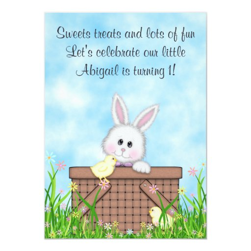 1ra invitación del cumpleaños del conejito y de