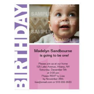 1ra invitación del cumpleaños del panel rosado de postal