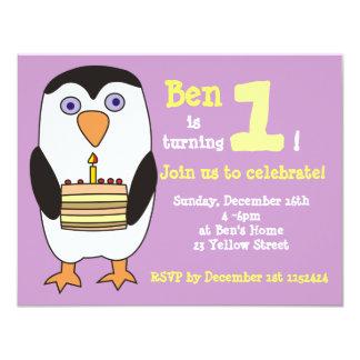 1ra invitación del cumpleaños del pingüino, fiesta invitación 10,8 x 13,9 cm