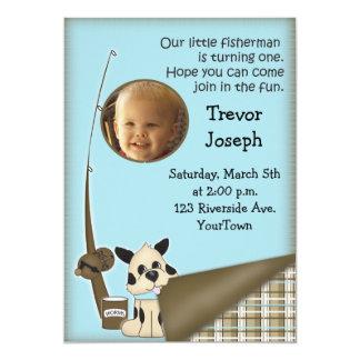 1ra invitación del pescador del cumpleaños de la