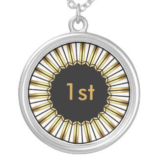 1ra medalla del ganador del lugar del oro del collar plateado