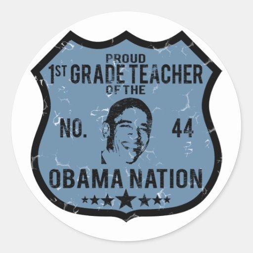 1ra nación de Obama del grado Pegatina Redonda