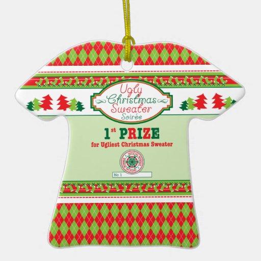 1ra Navidad del premio del lugar del navidad del Adorno Navideño De Cerámica En Forma De Playera