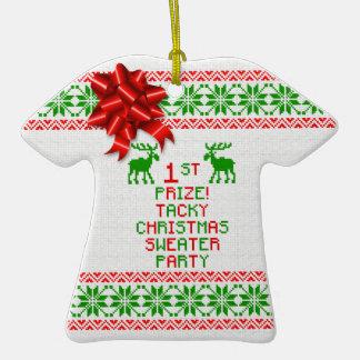 1ra Navidad del premio del lugar del navidad del Adorno De Cerámica En Forma De Playera