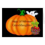 1ra nieta feliz de Halloween Tarjetón