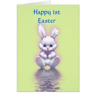 1ra Pascua feliz con pascua del bebé del conejito Tarjeta De Felicitación