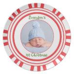 1ra placa del bastón de caramelo del navidad del b plato de comida