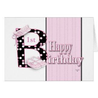 1ra princesa feliz del cumpleaños tarjeta de felicitación