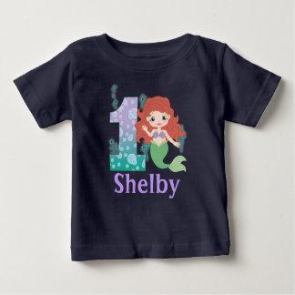 1ra princesa Mermaid Shirt del cumpleaños del Playera De Bebé