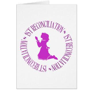 1ra reconciliación - primera confesión (chica) tarjeta de felicitación