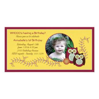 1ra tarjeta de la foto del cumpleaños de los búhos tarjetas personales