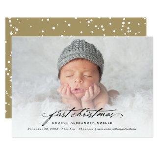 """1ra tarjeta de la foto del navidad del bebé invitación 5"""" x 7"""""""