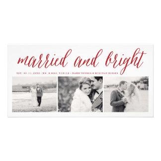 1ra tarjeta de la foto del navidad del par casado tarjetas fotográficas