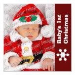 1ra tarjeta de Navidad del bebé rojo y blanco del Anuncio Personalizado