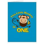 1ra tarjeta del muchacho del cumpleaños del pequeñ