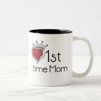 1ra tiempo mamá de la princesa taza de café de dos colores