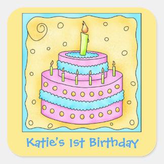 1ra torta del feliz cumpleaños de la turquesa pegatina cuadrada