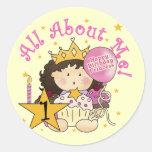 1ras camisetas del cumpleaños de princesa All Pegatina Redonda