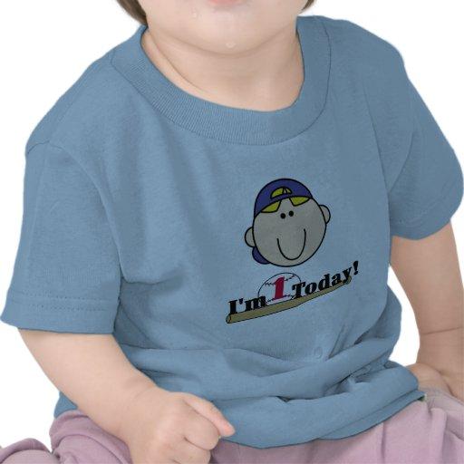 1ras camisetas del cumpleaños del béisbol rubio de