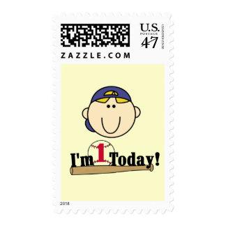 1ras camisetas del cumpleaños del béisbol rubio sellos postales