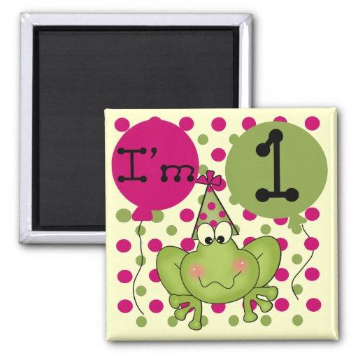 1ras camisetas y regalos del cumpleaños de la rana imán cuadrado