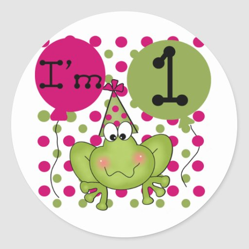 1ras camisetas y regalos del cumpleaños de la rana pegatinas redondas