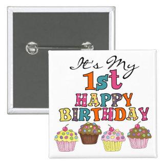 1ras camisetas y regalos del cumpleaños de las mag pin cuadrada 5 cm