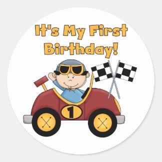 1ras camisetas y regalos del cumpleaños del coche pegatina redonda