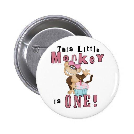 1ras camisetas y regalos del cumpleaños del mono r pin redondo 5 cm