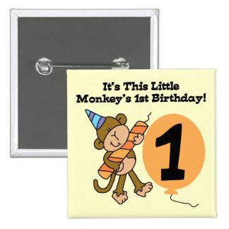 1ras camisetas y regalos del cumpleaños del pequeñ pin cuadrada 5 cm