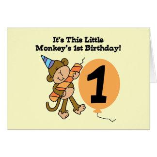 1ras camisetas y regalos del cumpleaños del pequeñ tarjeta de felicitación