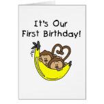 1ras camisetas y regalos del mono del cumpleaños d felicitaciones