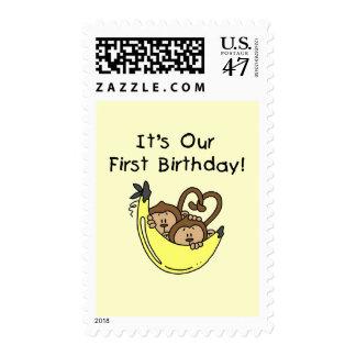 1ras camisetas y regalos del mono del cumpleaños sello postal