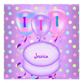 1ras flámulas de la torta de los globos de la fies invitaciones personales