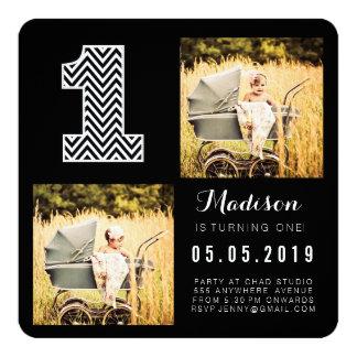 1ras tarjetas negras y blancas de la foto del invitación 13,3 cm x 13,3cm