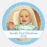 1ros pegatinas personalizados Navidad del círculo Etiqueta Redonda