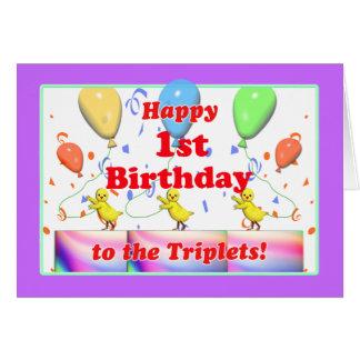 1ros pollos felices del cumpleaños para los tríos tarjeton