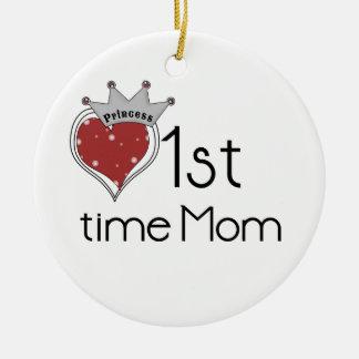 1ros regalos de la mamá del tiempo de princesa adorno redondo de cerámica