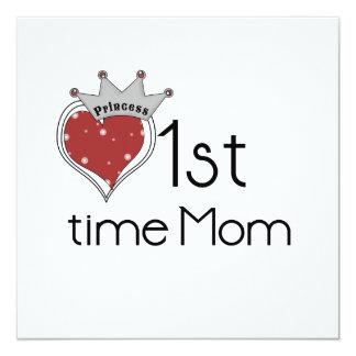 """1ros regalos de la mamá del tiempo de princesa invitación 5.25"""" x 5.25"""""""