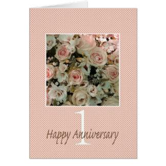 1ros rosas felices del aniversario tarjeta de felicitación