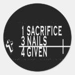 1SACRIFICE + 3 CLAVOS = 4GIVEN CRISTIANOS JESÚS ETIQUETA