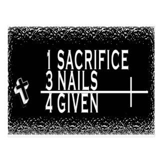 1SACRIFICE + 3 NAILS = 4GIVEN CHRISTIAN JESUS POSTCARD