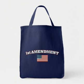1st Amendment American Flag Canvas Bags