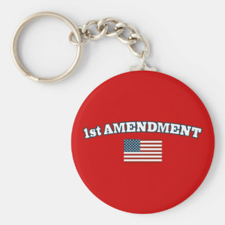 1st Amendment American Flag Basic Round Button Keychain